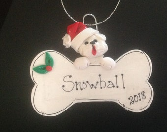 White Dog on Bone personalized polymer clay ornament!
