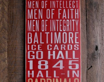 Calvert Hall College High School Cardinals Distressed Wood Sign-Great Father's Day Gift!