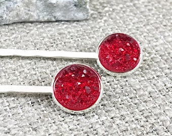 Red Druzy Bobby Pins - Druzy - Hair Clips - Drusy - Hair Pins - Hair Accessories - Bobby Pins - Bridesmaid Gift - Flower Girl -  Druzy Jewel