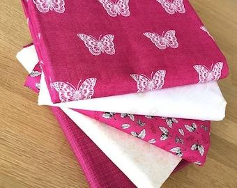 BOTANICA BUTTERFLIES in Pink & Cream Fat Quarter Bundle by Makower