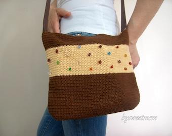 Hand Crochet Bag in Brown Apricot Yellow Beaded Messenger Bag