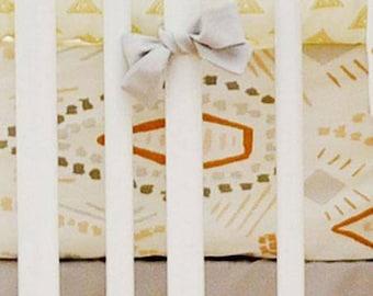 Gray & Gold Tribal Head West Crib Bedding   Crib Sheet