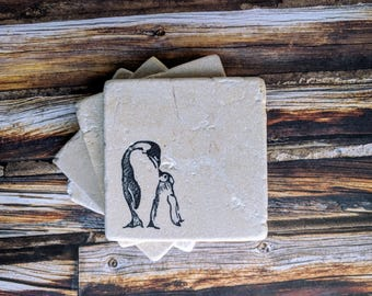 Penguin gift etsy penguin stone coasters penguin gift penguin home decor arctic decor parent and negle Image collections