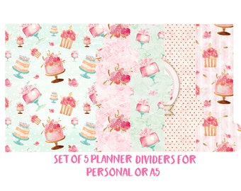 Set of 5 planner dividers for Personal or A5 size. Planner Accessories, Planner Decorations,Filofax,Planners,Kikki k. Cake, Boulangerie -094