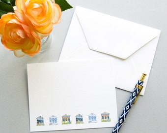 New Orleans Stationery - Watercolor Shot Gun Houses - New Orleans Note Cards - Shotgun House Border