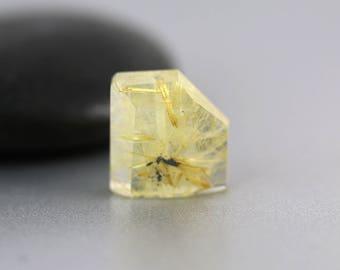 Rutilated Quartz Beads - 11mm - Rutilated Quartz - Hand Cut Golden Beveled Abstract Rectangle