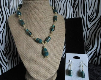 Gold & Turquoise Necklace/Earring Set