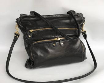 sale - 50% OFF- leather willow bag in black/gold