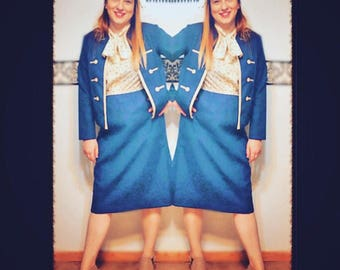 1960's Navy Umbrella Dress and Jacket Suit from Lady Carol of New York, Size Medium 8-10, Vintage 1960's Mad Men Womens Suit, Blue Jackie O