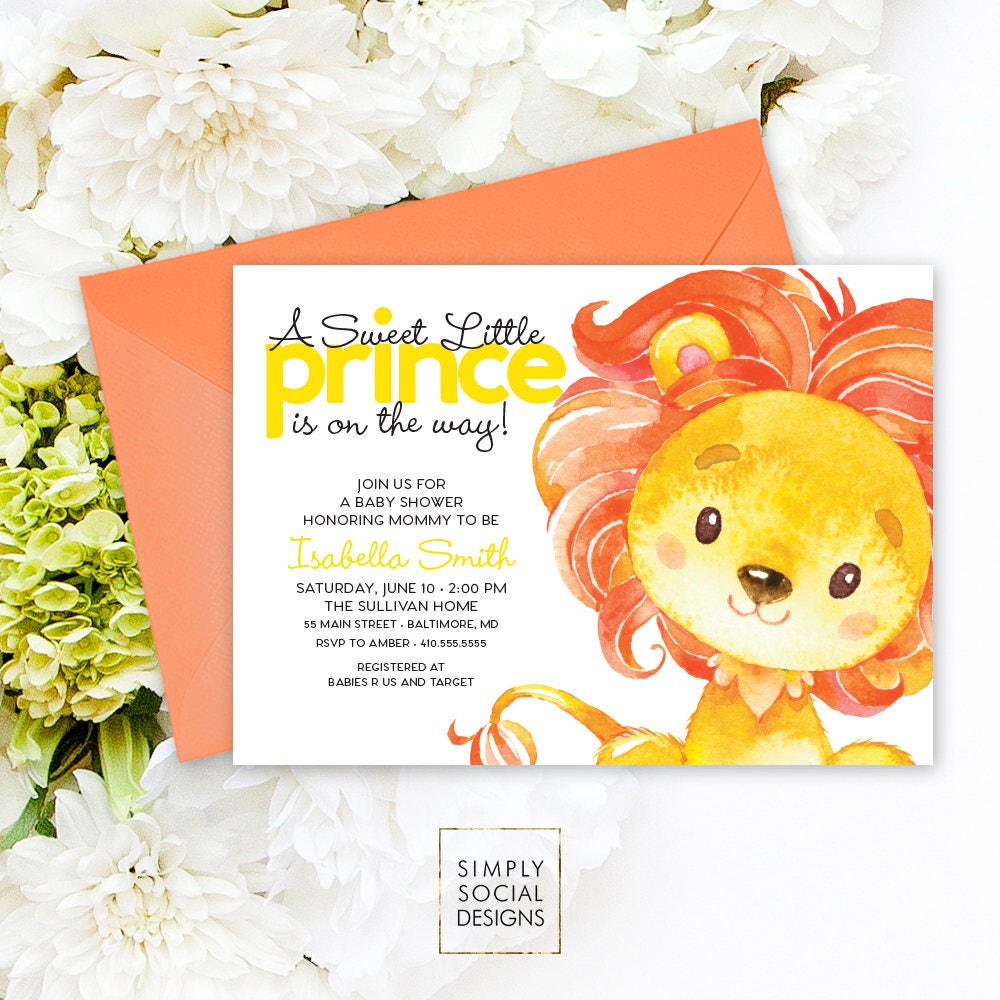 Lion Baby Shower Invitation - King of the Jungle Little Prince on ...