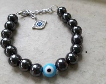 Evil Eye Hematite Protection Bracelet with Evil Eye Charm