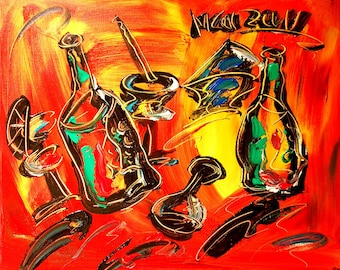Drinks  Red ABSTRACT  Large  Modern  Gallery Artist