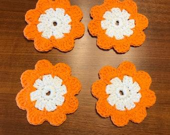 Orange Flower Crocheted Coasters