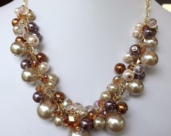 Beige Pearl and Crystal Cluster Necklace, Wedding, Bridesmaid, Bride, MOB, Prom, Pagent, SRAJD
