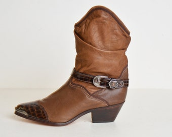 Vintage 70s Leather Zodiac Harness BOOTS / 1970s Brown Leather Buckle Biker Boots, 10