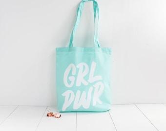 Sac tote bag Girl Power / grl pwr / girl boss / menthe
