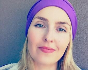 Purple orchid Stretch headband, organic cotton hair band, workout band, yoga headband, wide headband, bamboo headband, solid color headband