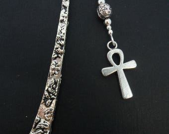 A tibetan silver and bead ankh cross  charm  bookmark.