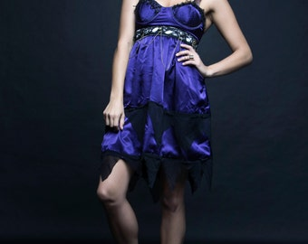S. Steamy Punk Dress size small. Upcycled purple and black satin.