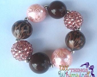 Pink and Brown Cheetah Chunky Bubblegum Bracelet