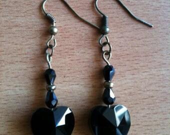 """Earrings """"black hearts"""""""