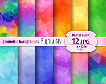Geometric background Digital Paper Clip Art. Abstract polygons backgrounds. Set of 12 JPG  digital papers. Printable. Instant download.