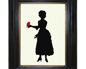 Valentine's Day Art Print Silhouette Lady stolen anatomical Heart Victorian Steampunk Paper Cut