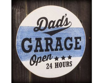 Dad's Garage Sign, Dad Sign, Open 24 hours, Garage Decor, Grandpa Garage Sign, Any Name!, Choose your color!, Vintage Sign, Dad Gift