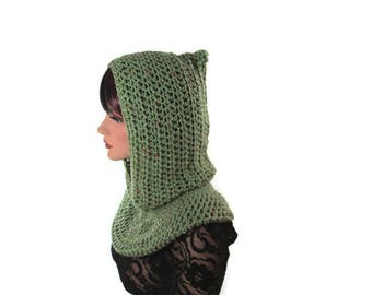 Sage Green Cowl, Fishermans Hood, Mens Neckwarmer, Pea Green Scarf, Hooded Scarf, Kiwi Green, Crochet Cowl, Knit Scarf, Womens Scarf, Green