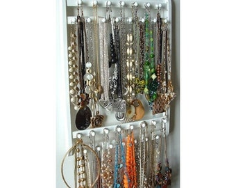 """ON SALE Elegant Necklace Holder, Hangs 30 - 120 Necklaces, """"Choose Your Stain"""", Oak Hardwood, Wood Jewelry Organizer Display, Wall Mounted"""