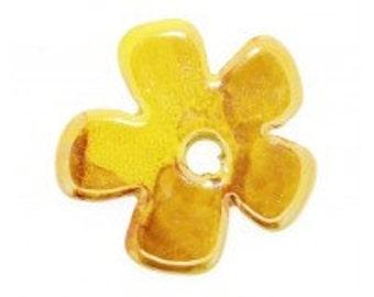 Yellow Large Ceramic Flower Bead