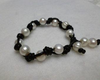 Black Leather Knots Cultured Pearl Bracelet