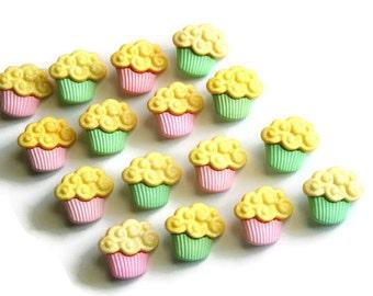 Cupcake Buttons, Muffin Buttons, Kawaii Supplies, Pink Green Yellow, 16 Pieces