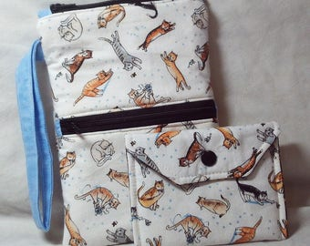 SET of 2 - CATS! Wristlet/clutch/cell phone case & Card Holder