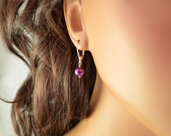 Dark Plum Pearl Drop Earrings, Sterling Silver, Lever, Leverback Earwires, Mulberry Freshwater, Simple Jewelry, Free Shipping