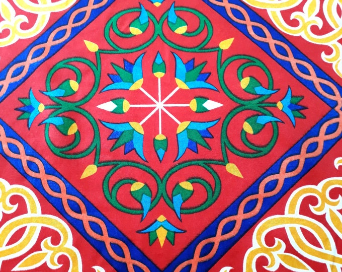 Egyptian fabric. Oriental atmosphere. Arabesque and lotus flowers. Fabric for making decorative Ramadan or ethnic clothing