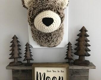 Plush Bear head / faux Taxidermy / woodland decor / boy room / plush bear