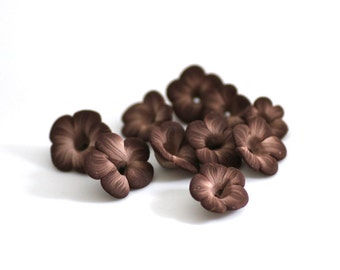 Polymer Clay Beads, Brown Flower Beads, Sculpted Beads 10 Pieces