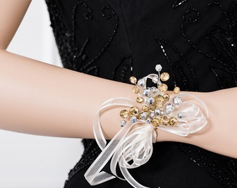 Limited Edition Silver and Gold Corsage  -  Wrist Corsage - Flower Corsage