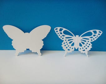 Cutting white 2 butterflies set of 7 cm tall
