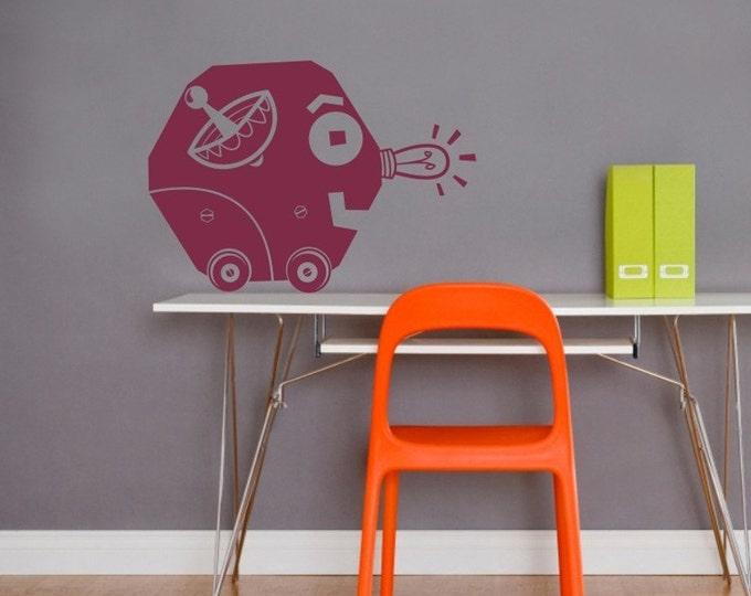 robot vinyl wall decal art- retro robot art, OSCAR character, FREE SHIPPING