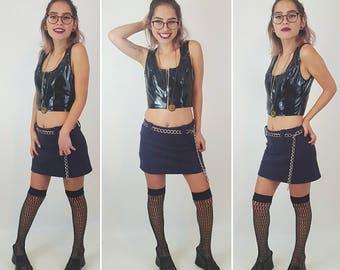 90s Vintage Purple Mini Skort - Extra Small Miniskirt Shorts - 1990s Fashion Shorts Under Mini Skirt - Classic Basic Grunge Style Skirt XS