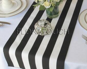 Black and White Striped Table Runner Wedding Table Runner, Dining Table Runner, Table Decor, Bridal shower
