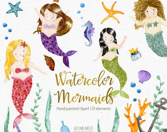 watercolor mermaid clipart, mermaid illustration, sea creatures, mermaid party, mermaid clip art, princess, sea clipart, underwater, fantasy