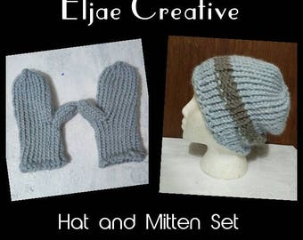 Hand Knit Hat and Mitten Set made with alpaca and acrylic blended yarn