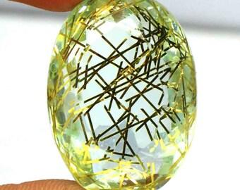 Superior Quality 103.50 Ct Certified Brazilian Oval Shape Yellow Rutilated Quartz Gemstone AO2252