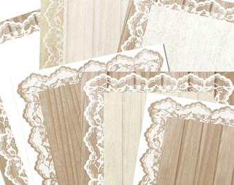 Wood and Lace Digital Paper, Graduation Digital Paper, Digital Paper Wood, Farmhouse Digital Paper, Wedding Invitation, 8x10 Paper, #16070