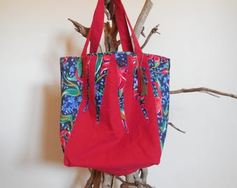 Chic tote bag, red cotton and jersey, recycled textile