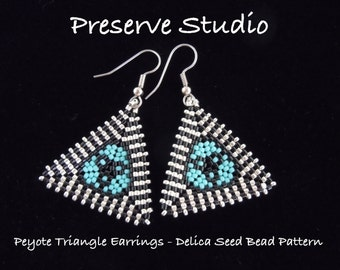 Striped Border Peyote Triangle Delica Seed Bead Pattern, Peyote Earring Pattern, Beading Pattern, DIY Earrings, Peyote Stitch