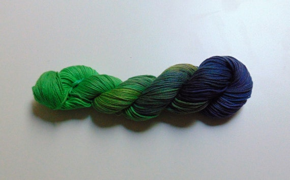 Peacock- 100 Cotton Yarn, Hand Dyed Worsted Weight Variegated colorway